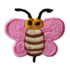LIGHT PINK BUMBLE BEE MOTIF IRON ON EMBROIDERED PATCH APPLIQUE